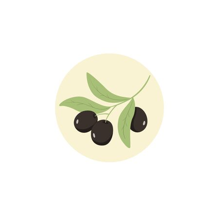 Olives logo design in circle branch tree
