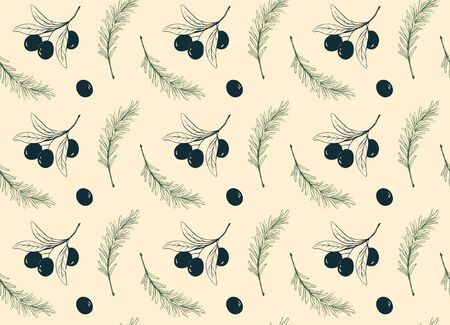 Olive tree pattern with rosemary seamless design