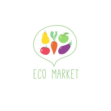 Eco market vegetables logo vegan illustration