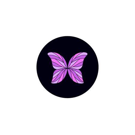 Purple butterfly logo design black violet Ilustrace