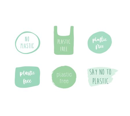 Plastic free green labels set design hand drawn