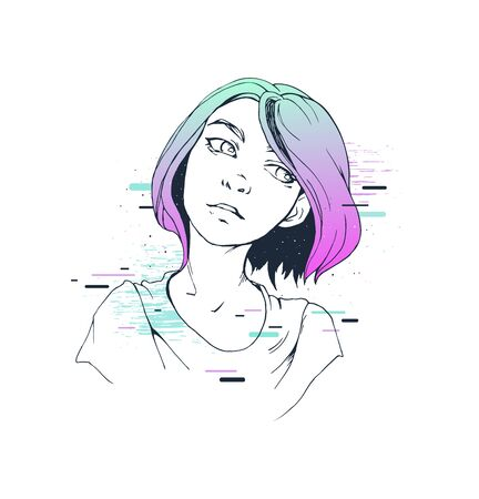 Colorful print design hand drawn illustration of a girl portrait colorful space glitch