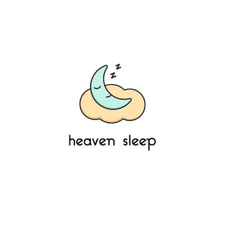 Cute sleeping moon logo isolated illustration cloud