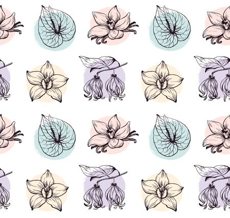 Tropical flowers seamless pattern pastel colors on white vanilla