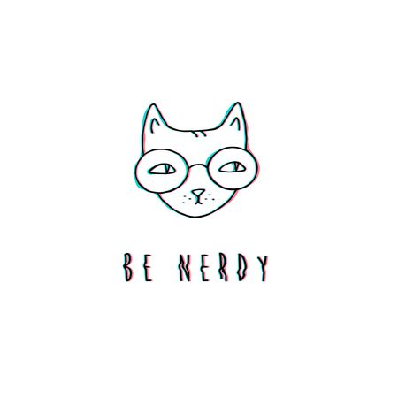 Funny nerd cat sketch print deisgn hipster