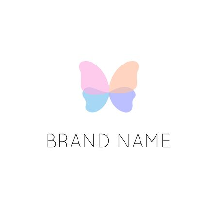 Butterfly elegant logo template isolated flat
