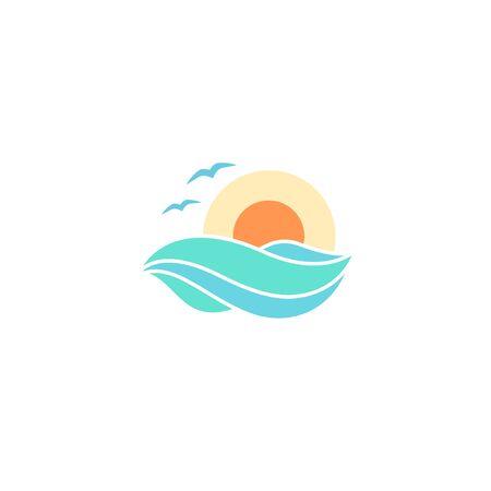 Sea and sun flat logo design isolated ocean illustration travel