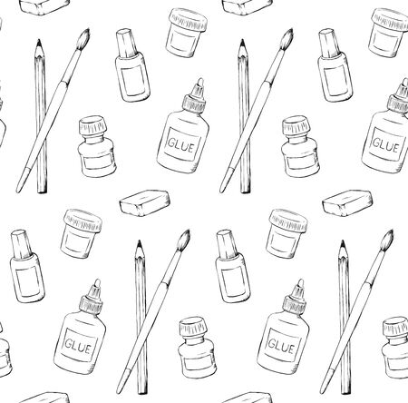 Stationery handdrawn seamless pattern design black and white school supplies