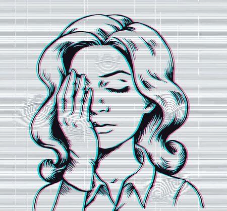 Pop art woman facepalm on glitch backround print design