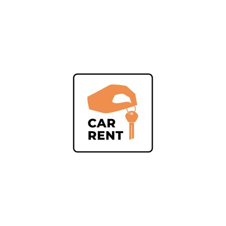 Car rent logo with hand and key isolated Ilustrace