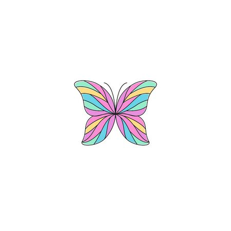 Butterfly outline colorful logo design isolated
