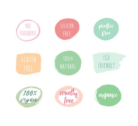 Set ot hand drawn colorful badges design paraben free, silicon free, vegan; organic, natural, gluten, cruelty