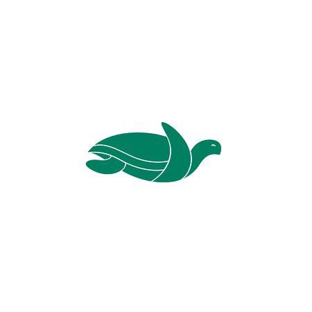 Sea turtle isolated flat logo design green