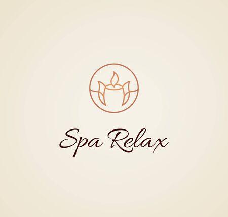 Spa salon logo design candle relax Ilustrace