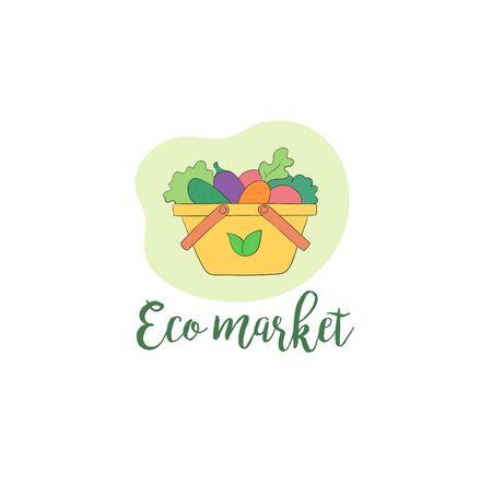 Eco market vegan food logo vegetables