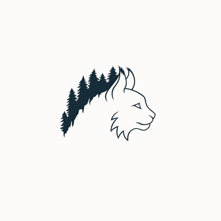 Lynx flat logo with forest vector illustration ecological
