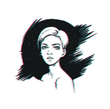 Pop art woman illustration with distressed glitch effect drawn ink Ilustrace