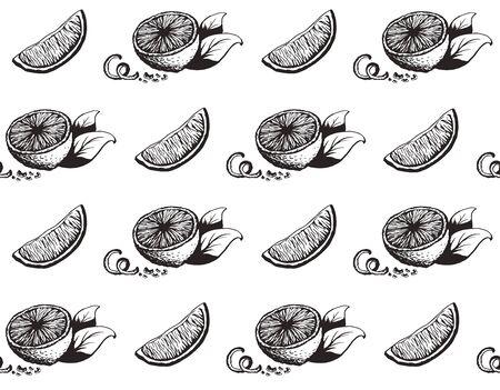 Hand drawn lemon seamless pattern black ink sketch