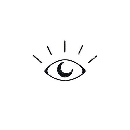Eye with moon astrology logo design isolated
