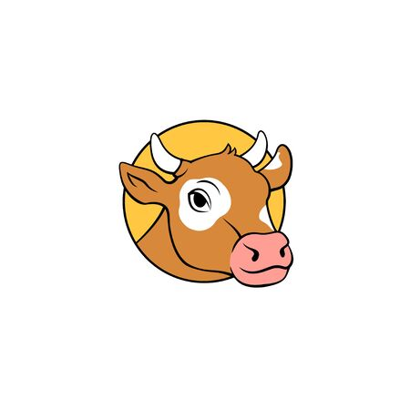 Colorful cow head logo design isolated vector