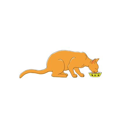 Happy cat eating food hand drawn illustration vector Ilustrace