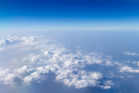 blue sky with white cloud view on plane