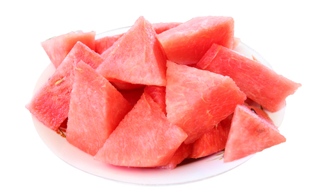red watermelon slices isolated on white background