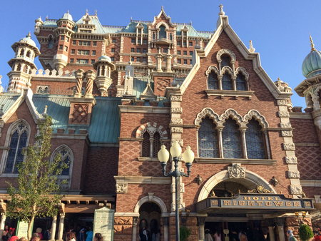 TOKYO, JAPAN - FEBRUARY 21: Hotel high tower the horror machine in the Tokyo disney sea with blue sky  February 21, 2017 in Tokyo, Japan