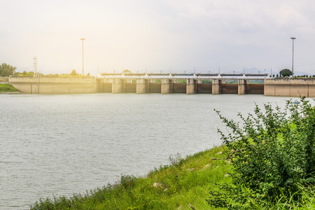water is waiting for drainage at dam with light effect Stock Photo