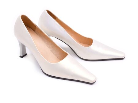 White classical wedding shoes photo