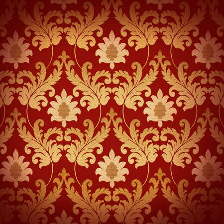 baroque pattern: Decorative red and gold renaissance background