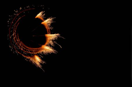 pyrotechnics: Fires of pyrotechnics on a black background.