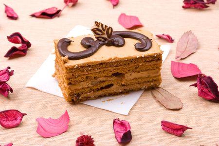 Biscuit cake in petals photo