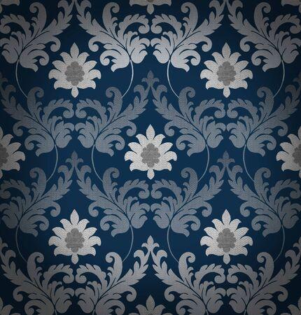 blue damask: Retro blue renaissance background
