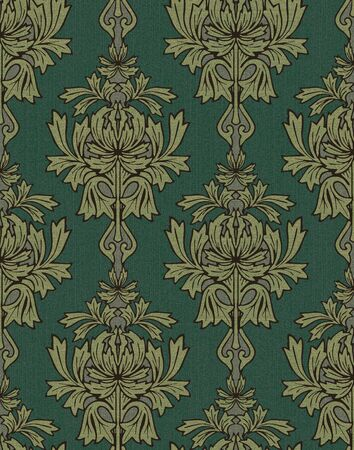Emerald Green With Gold Damask Background Stock Photo