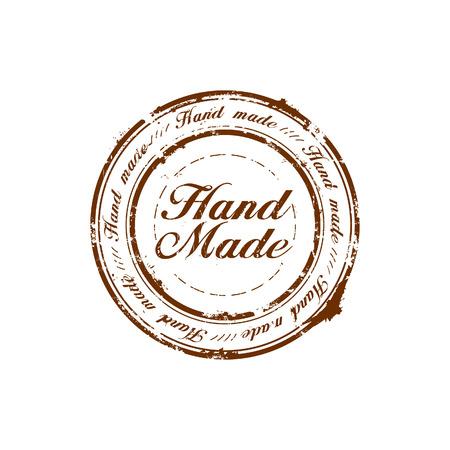hand made: mano vector hizo sello de calidad