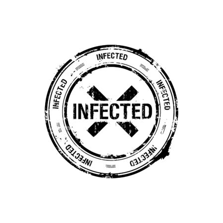 infected: sello de vector, infectado, peligro  Vectores