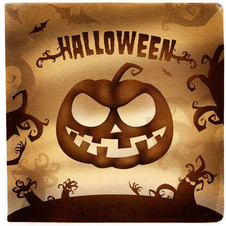 Halloween grunge illustration with pumpkin illustration