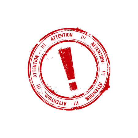 red grunge rubber stamp with the exclamation mark inside Stock Vector - 6025673