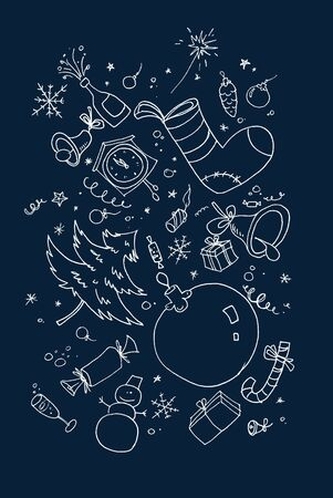 xmas background with hand drawn symbols Stock Photo - 6025742