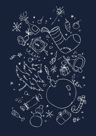 xmas background with hand drawn symbols Stock Vector - 6025955