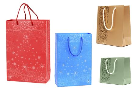 various paper bags isolated on white Stock Photo - 6053113