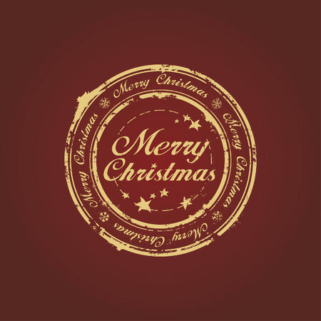 Merry Christmas stamp on claret Stock Vector - 6070529