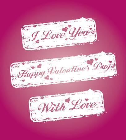 Set of Valentine`s stamps Stock Vector - 6204813