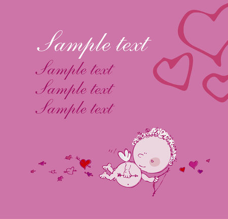 Greeting card with cupid and place for text. Vector