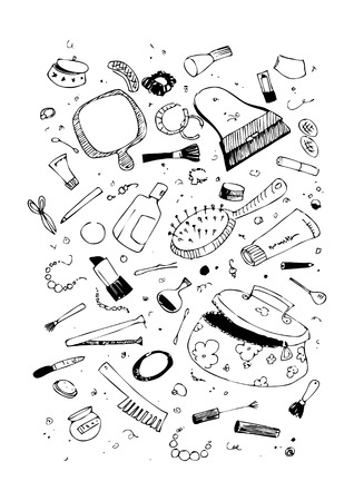 Set of beauty and cosmetics products illustration Stock Vector - 6335306