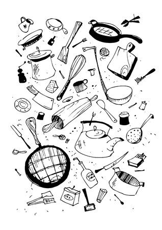 Wektorowa illustraition kuchnia przybór, ręcznie zestawu projektów ciągnione.