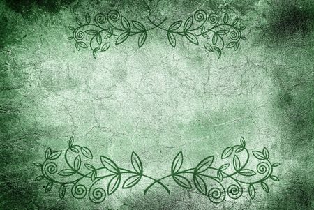 Grunge wall with cracks and floral design Stock Photo - 6410265