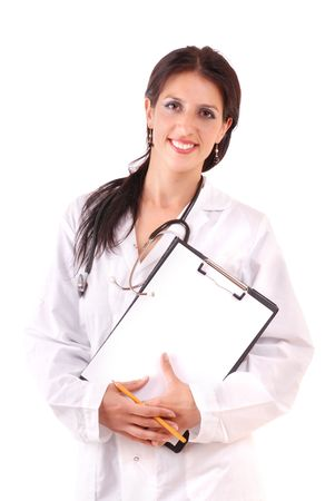 Pretty nurse with beautiful smile. Young female doctor. photo