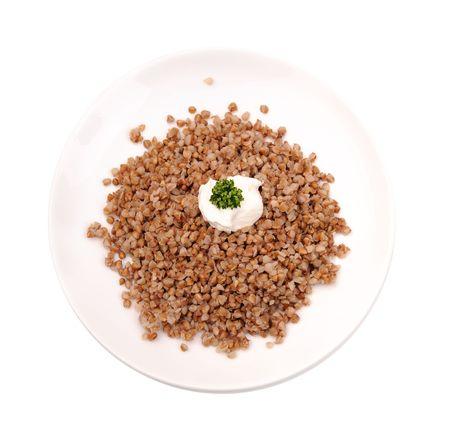 kasha: Boiled buckwheat kasha with sour cream